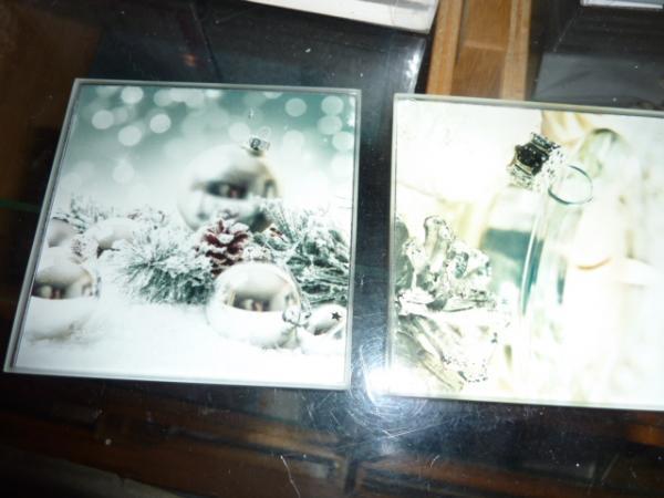glazen onderzetters kerst afbeelding