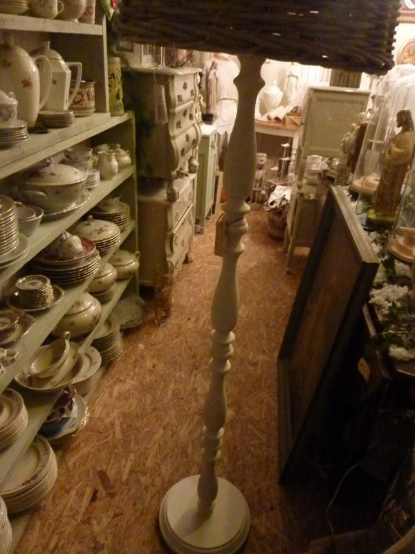 landelijke houten lampenvoet  wit