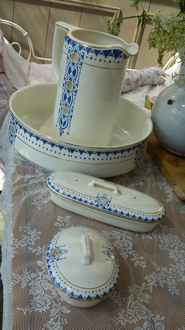 Lampetstel blauw wit societe  ceramique